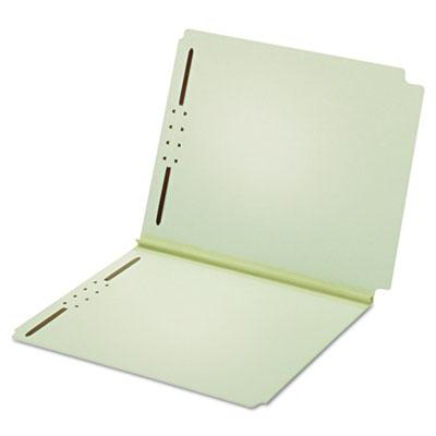 "Dual Tab Pressboard Folder, 2 Fasteners, 2"" Expansion, Letter, Lt Green, 25/Box"