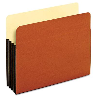 File Pocket with Tyvek, Straight Cut, 1 Pocket, Letter, Brown