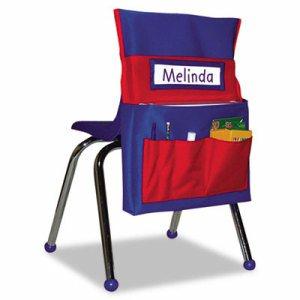 Chairback Buddy Pocket Chart, 12 x 22 1/2, Blue/Red