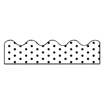 """Scalloped Borders, 2.25"""" x 39 ft, White with Black Dots, 13/Pack"""