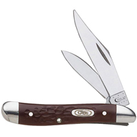 Case 46 Folding Pocket Knife, 2 in L Clip, 1-1/2 in L Pen, Brown