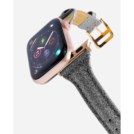 CASERY WB-4204 GLITTER BLACK LEATHER BAND FOR APPLE WATCH.