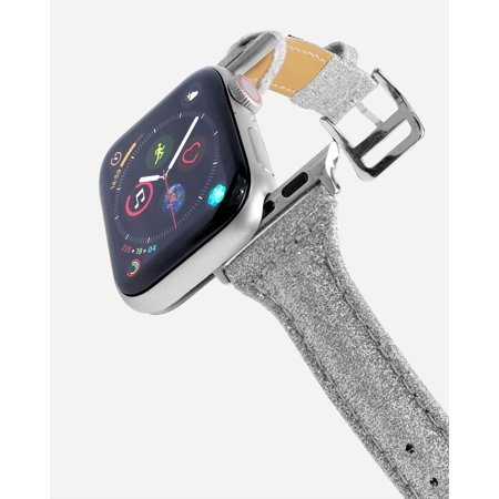 CASERY WB-4205 GLITTER SILVER LEATHER BAND FOR APPLE WATCH.