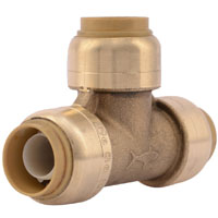 Sharkbite U362LFA Tube Reducing Tee, 1/2 in, Push-Fit, 200 psi Working, DZR Brass, 200 deg F