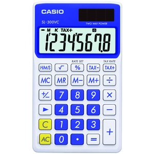 CASIO SL300VCBESIH SOLAR WALLET CALCULATOR WITH 8-DIGIT DISPLAY (BLUE)