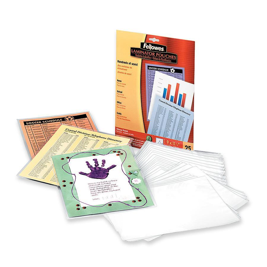 Fellowes 52005 Letter Size Laminating Sheet, 3 mil T, 8-1/2 in W x 11 in L, Clear