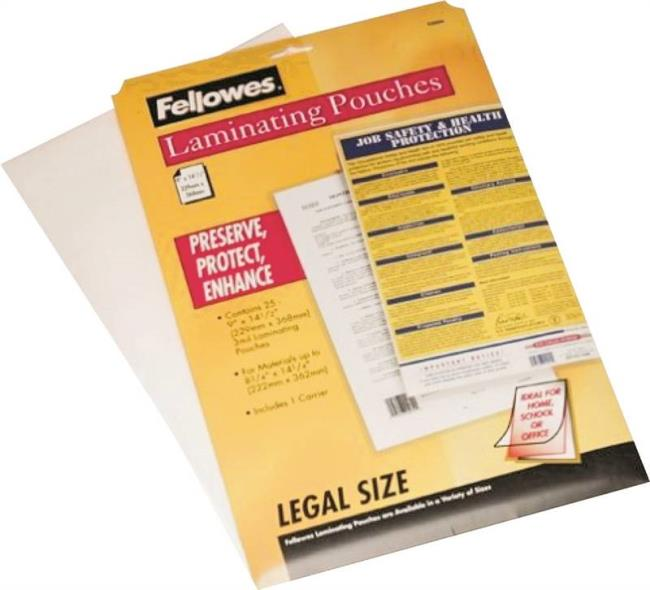 Fellowes 52006 Legal Size Laminating Sheet, 3 mil T, 14 in W x 8-1/2 in L, Clear