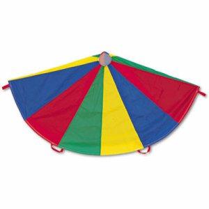 Nylon Multicolor Parachute, 12-ft. diameter, 12 Handles