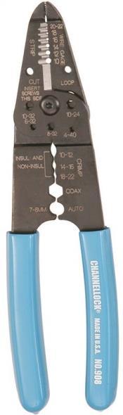 Channellock 908 Wire Stripper, 22 - 10 AWG, 3-1/4 in OAL