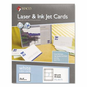 Unruled Microperforated Laser/Ink Jet Index Cards, 3 x 5, White, 150/Box