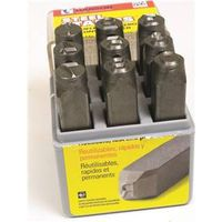 Ch Hanson 20541 Standard Number Stamp, 1/8 in, 1/4 in, 2-3/8 in L, 9 Pieces