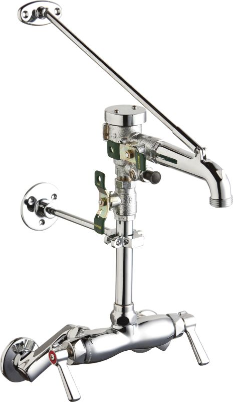Not For Potable Use 2 Handle Wall Mount Service SINK Faucet Chrome