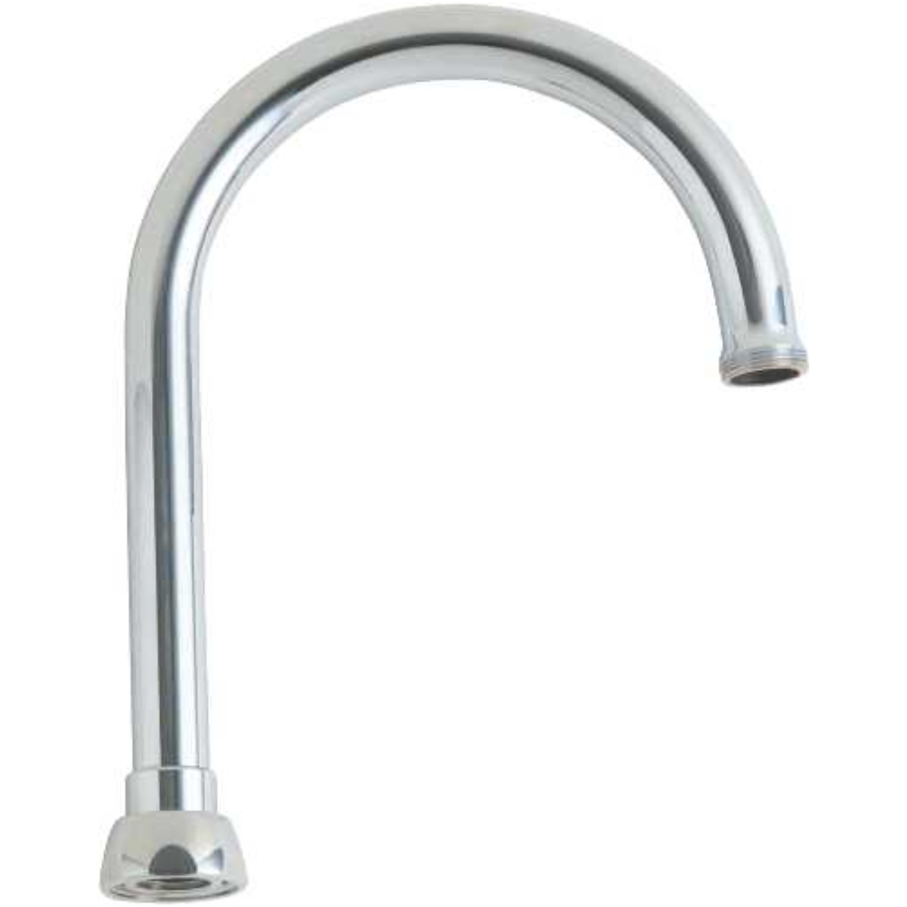 CHICAGO FAUCETS� ECAST� LEAD-FREE 5.25-INCH GOOSENECK SPOUT, 8 IN. TALL, 13/16 IN. - 24 MALE OUTLET THREAD, CHROME