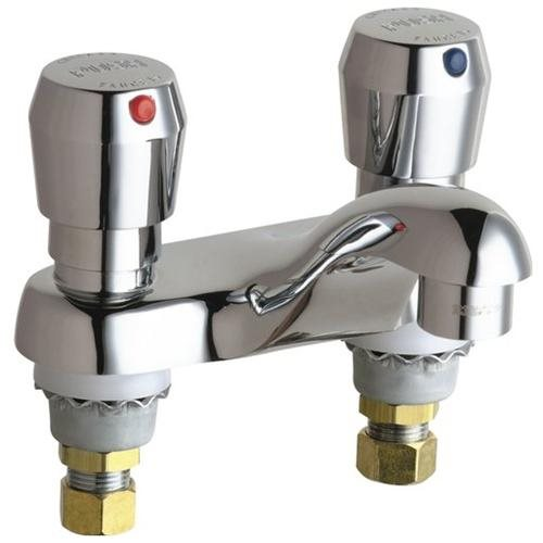 CHICAGO FAUCETS MVP METERING BATHROOM FAUCET WITH 4 IN. CENTERS LESS POP-UP CHROME LEAD FREE