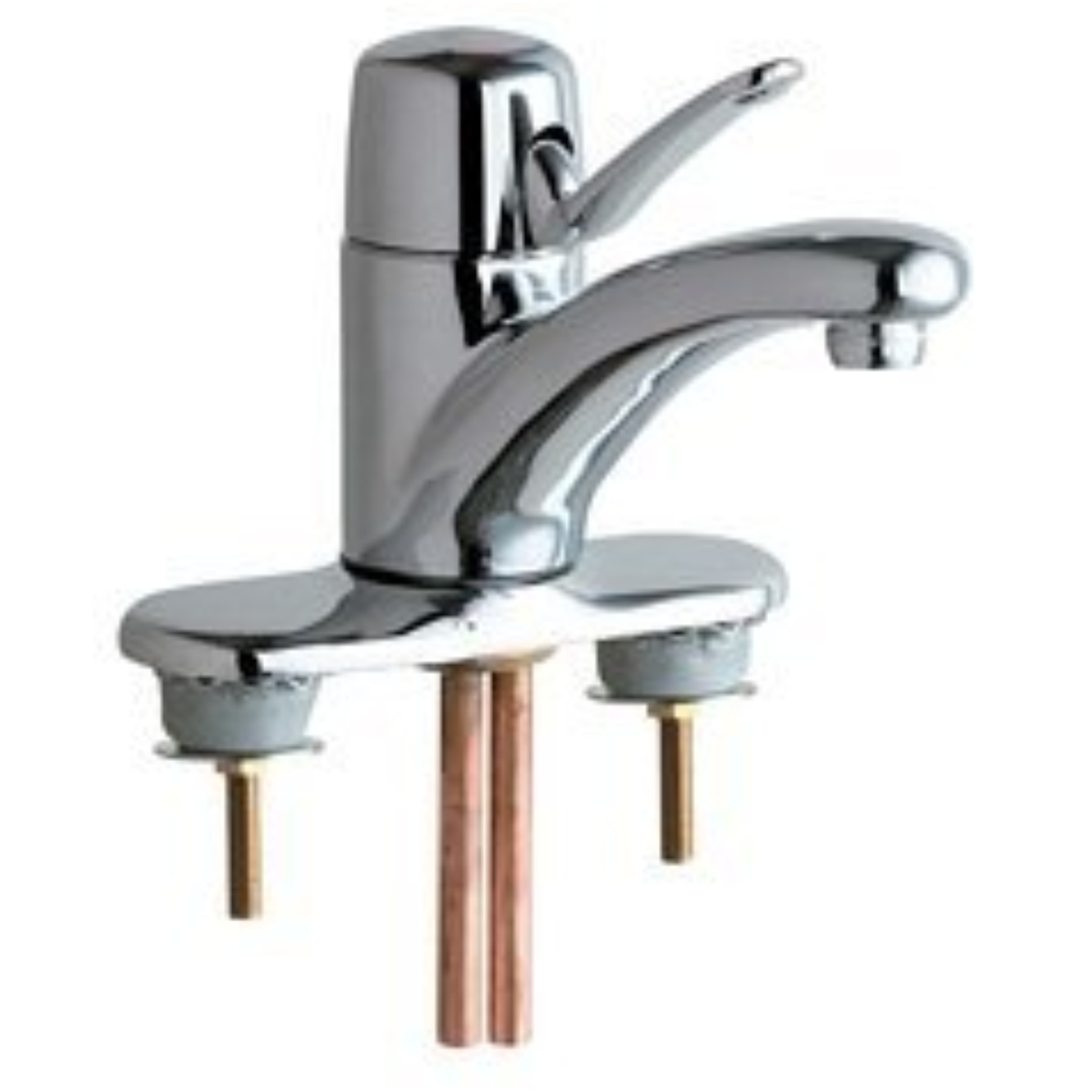 "CHICAGO FAUCETS SINGLE LEVER BATHROOM SINK MIXING FAUCET WITH 4"" CENTERS, CHROME, LEAD FREE"