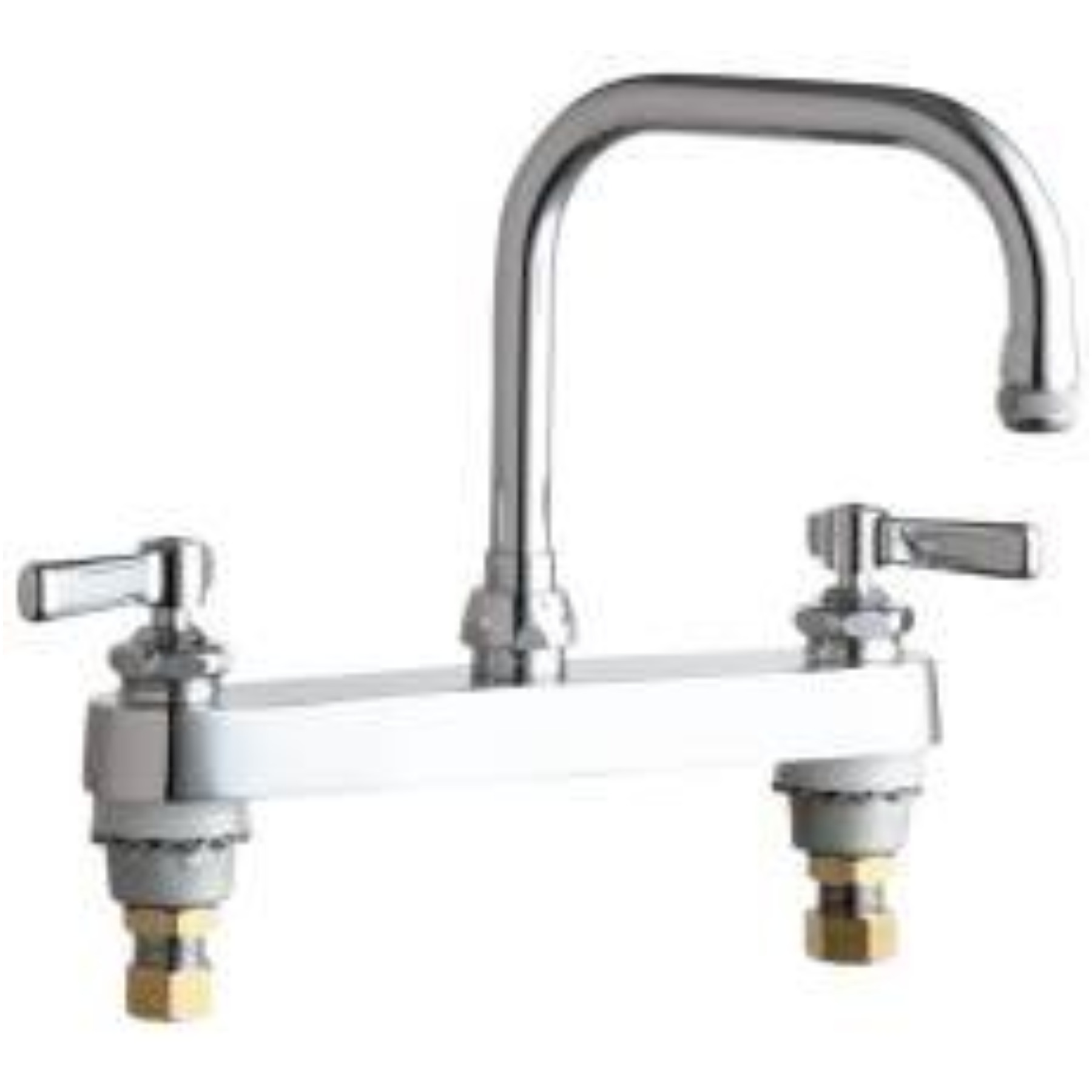 CHICAGO FAUCETS DECK MOUNT WORK BOARD SINK FAUCET WITH 8 IN. CENTERS, CHROME, LEAD FREE, WRIST BLADE HANDLES