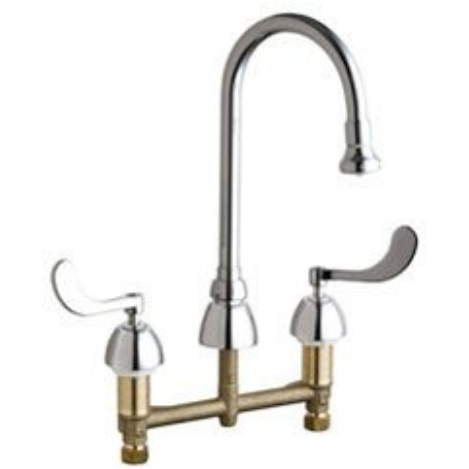 CHICAGO FAUCETS� LEAD-FREE WALL-MOUNTED HOSPITAL SINK FAUCET, 5.25-INCH GOOSENECK SPOUT, WRISTBLADE HANDLES, 2.0 GPM SPRAY
