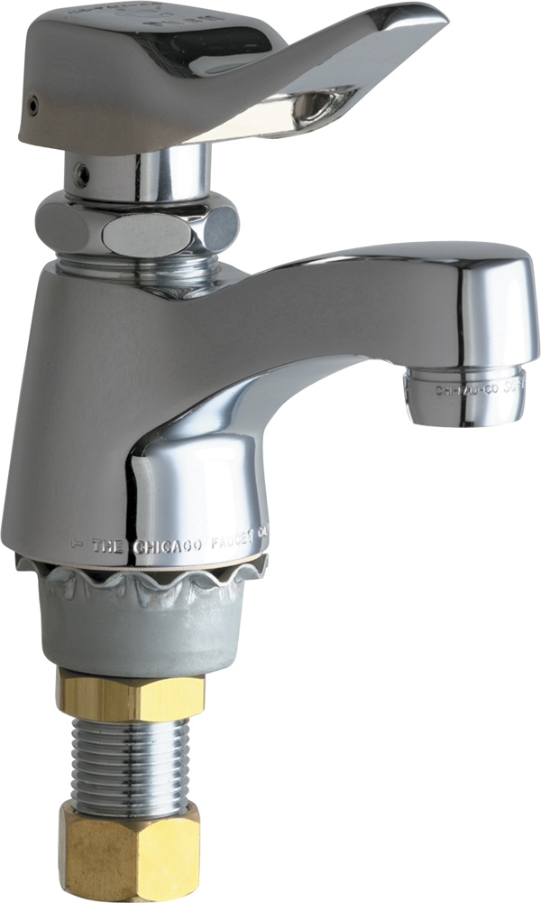 CHICAGO FAUCETS SINGLE SUPPLY METERING SINK FAUCET, 0.5 GPM, CHROME, LEAD FREE