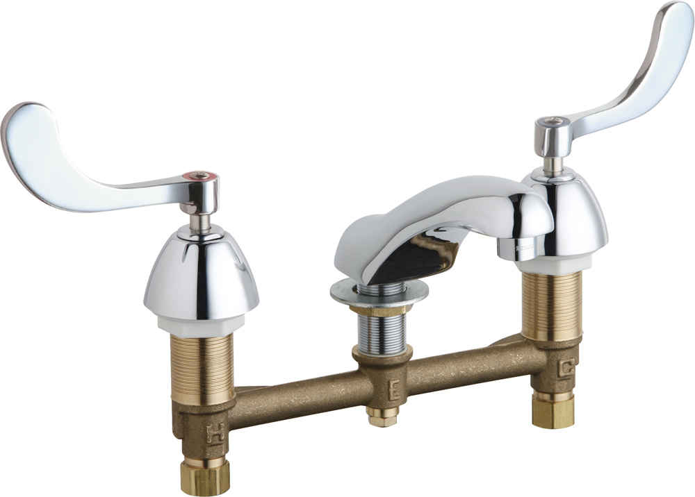 CHICAGO FAUCETS CONCEALED HOT AND COLD SINK FAUCET, 0.5 GPM, CHROME, LEAD FREE