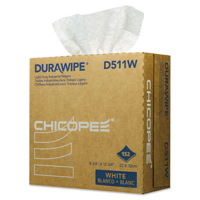 Durawipe Light Duty Industrial Wipers, 8.8 x 12.8, White, 152/Box, 12 Box/CT
