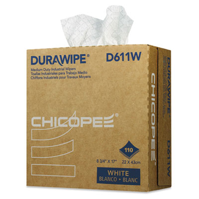 Durawipe Medium-Duty Industrial Wipers, 8.8 x 17, White, 110/Box, 12 Box/Carton