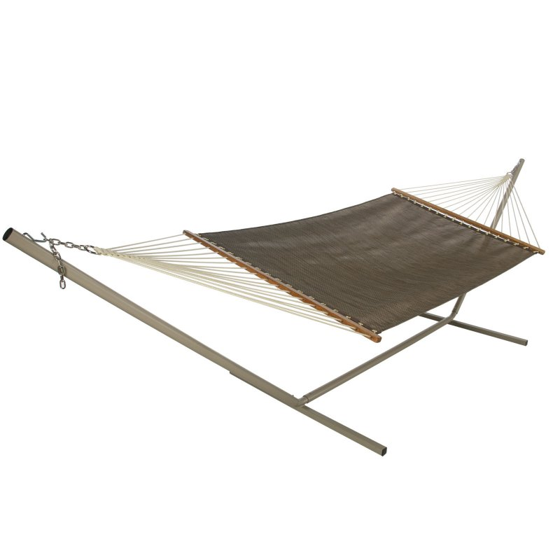 Cit Group M-1318BRZ Large Fabric Open Weave Hammock, 55 in L, Hardwood