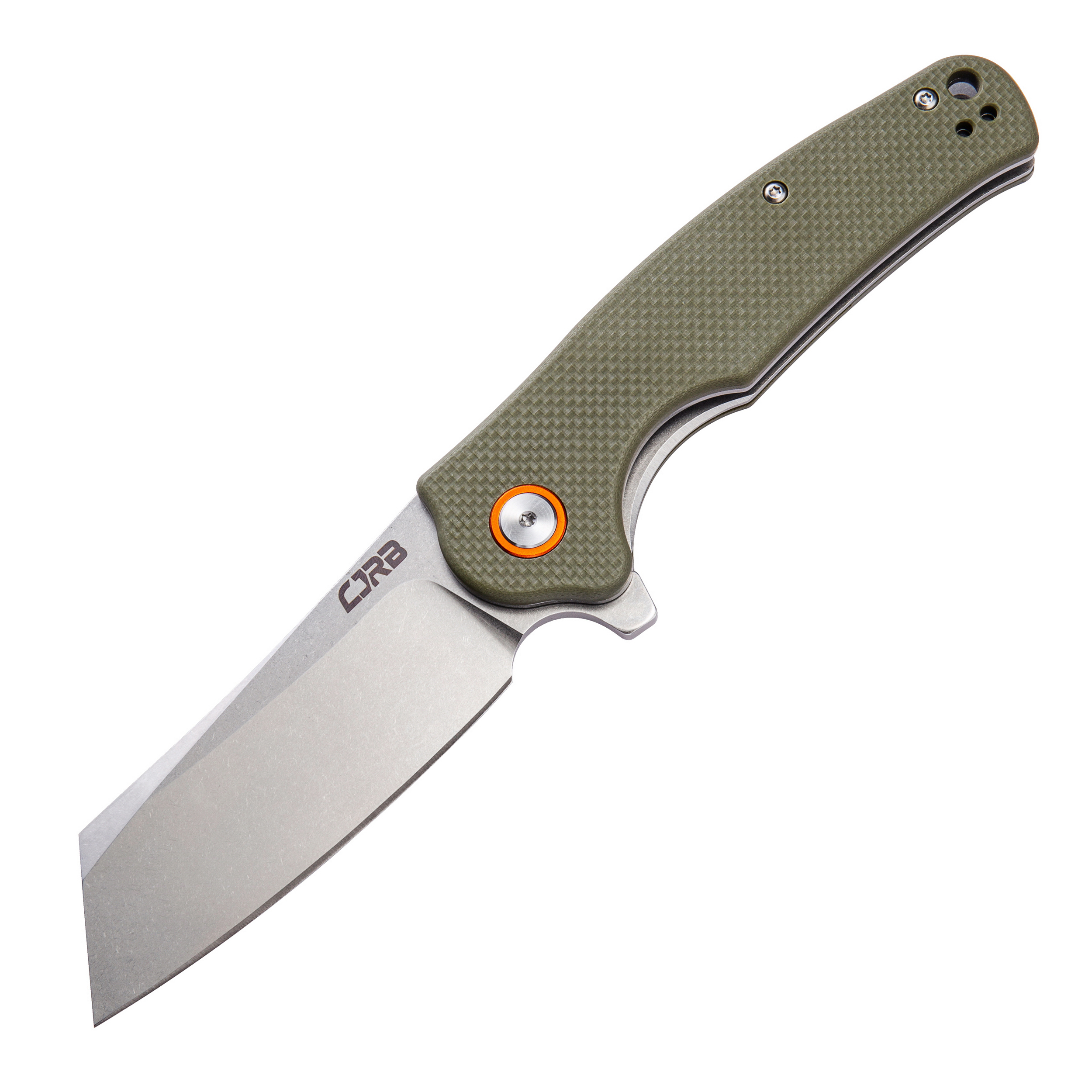 CJRB Crag Folder 3.42 in Blade Green G-10 Handle