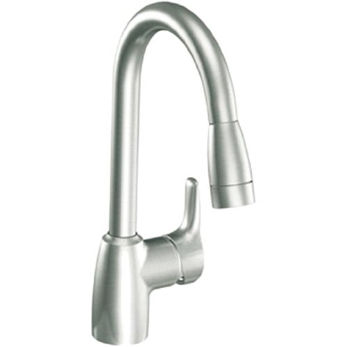 CLEVELAND FAUCET GROUP BAYSTONE� ONE HANDLE PULLOUT KITCHEN FAUCET, CLASSIC STAINLESS STEEL, LEAD FREE