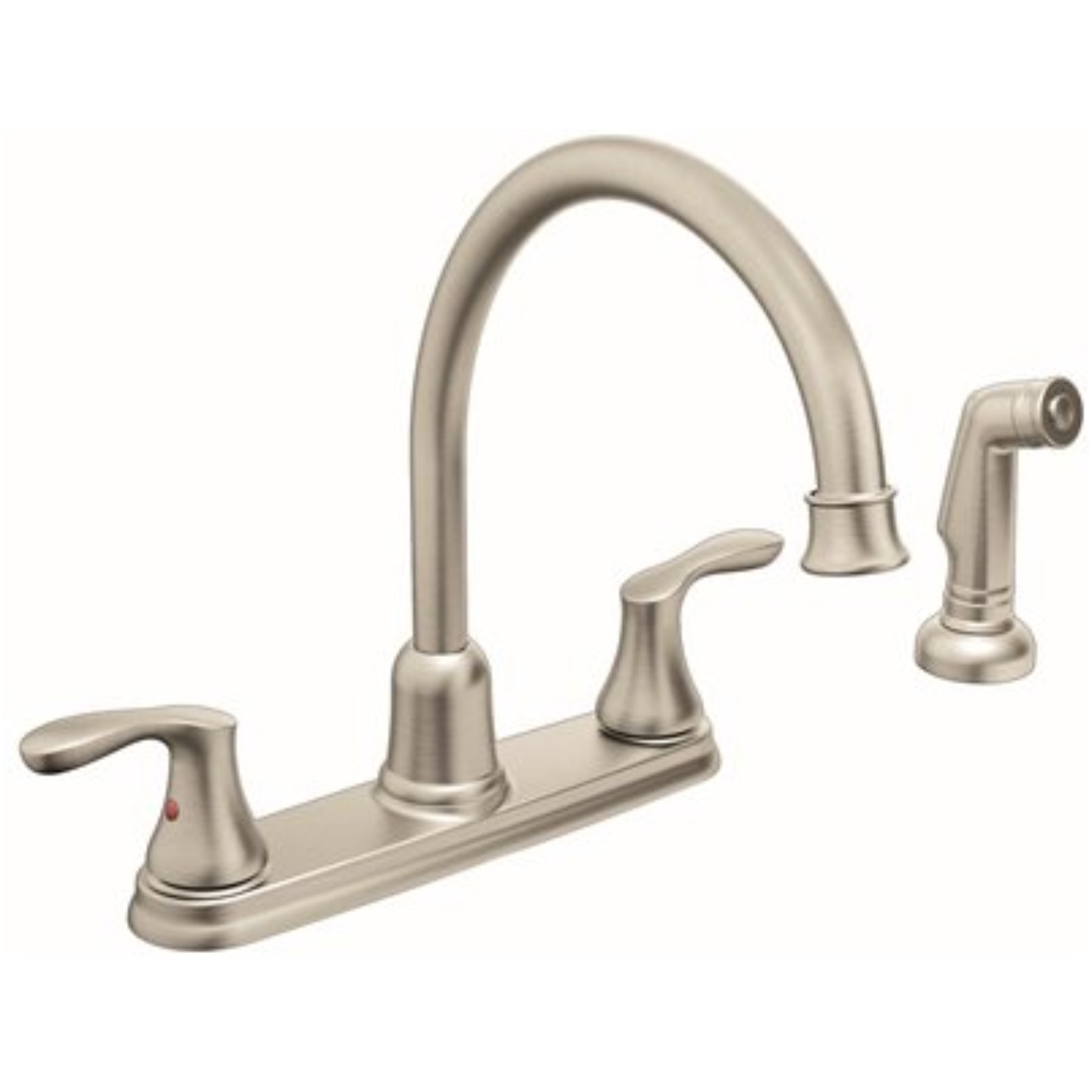 CORNERSTONE� HIGH ARC KITCHEN FAUCET WITH TWO HANDLES AND SIDE SPRAY, CHROME