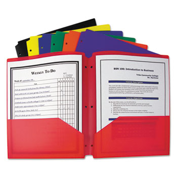 Two-Pocket Heavyweight Poly Portfolio Folder, 3-Hole Punch, Letter, Assorted