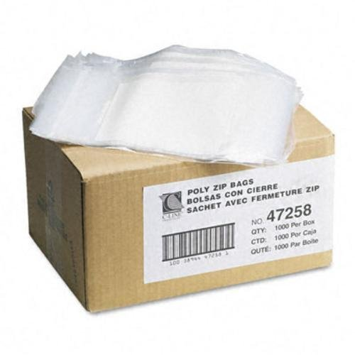 Write-On Recloseable Small Parts Bags, Poly, 2 Mil, 5 x 8, Clear, 1000/Carton