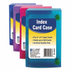 Index Card Case, Holds 200 4 x 6 Cards, Polypropylene, Assorted