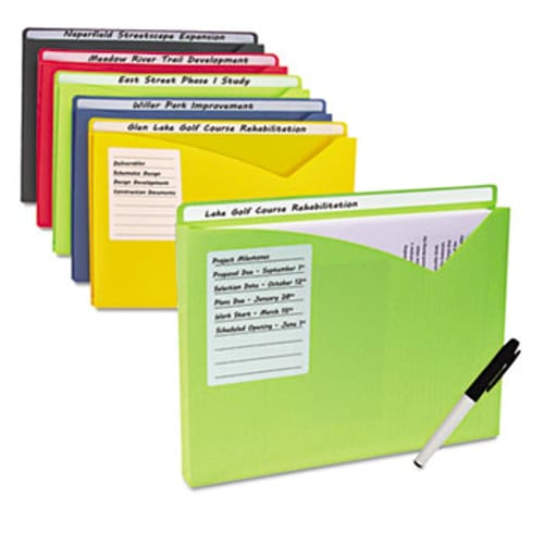 """Write-On Expanding Poly File Folders, 1"""" Exp., Letter, Assorted Colors, 10/BX"""