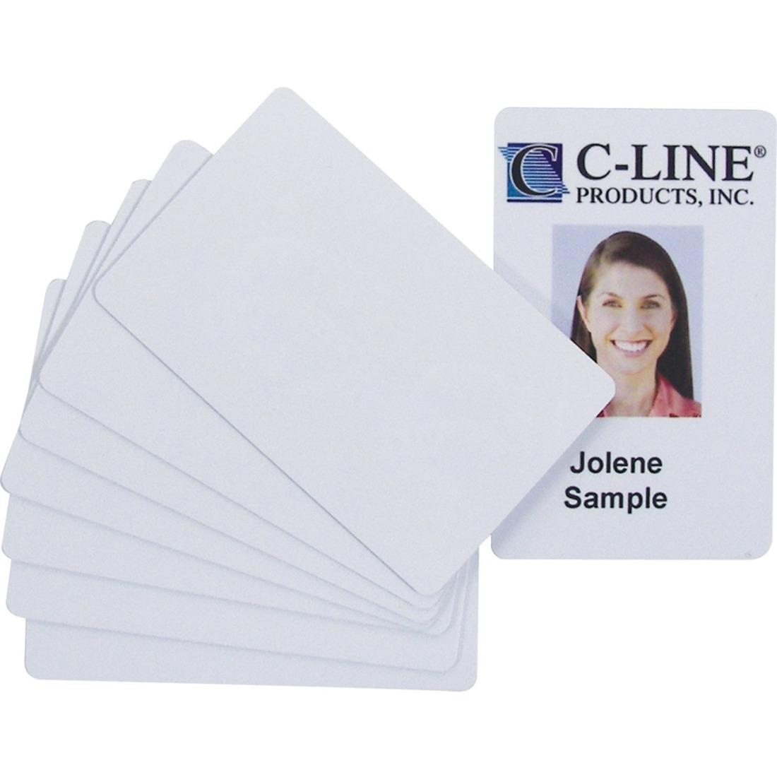 PVC ID Badge Card, 3 3/8 x 2 1/8, White, 100/Pack