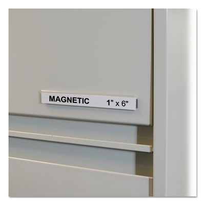 "HOL-DEX Magnetic Shelf/Bin Label Holders, Side Load, 1"" x 6"", Clear, 10/Box"