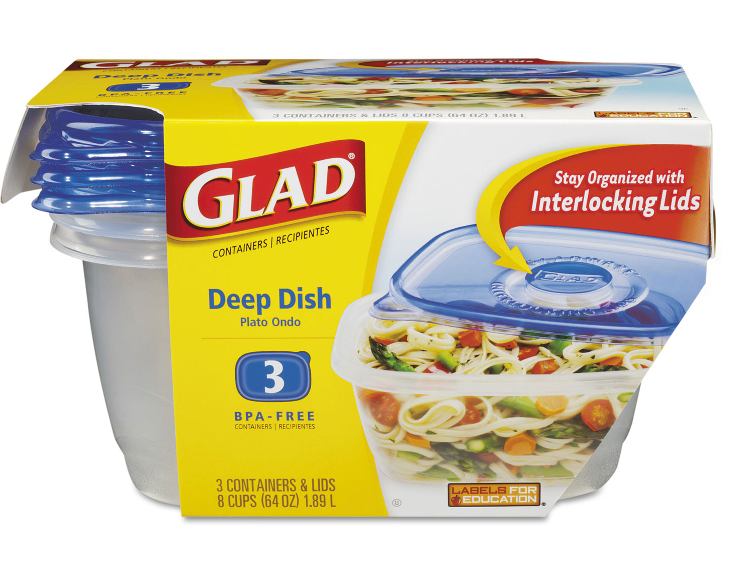 GladWare Entree Containers - Deep Dish 18 Containers per Case