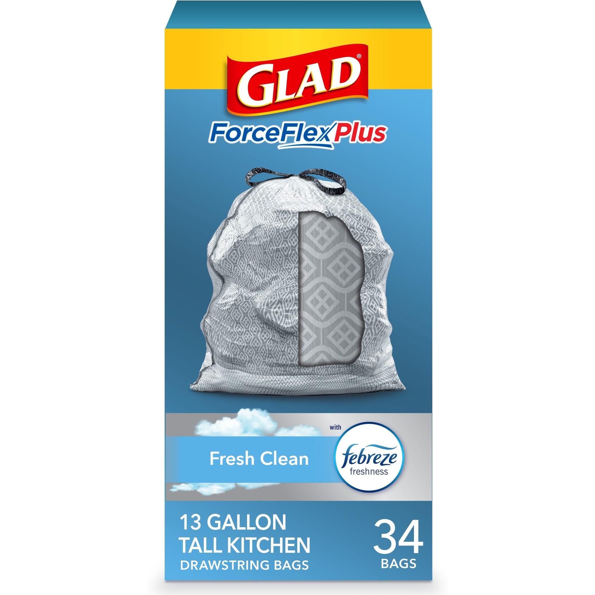 Glad Forceflex 13 Gallon Odorshield Kitchen Trash Bags, 204 Bags