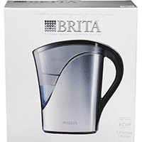 Brita Space Saver Water Filter Pitcher, 48 oz, Silver