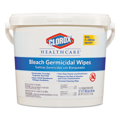 Bleach Germicidal Wipes, 12 x 12, Unscented, 110/Bucket