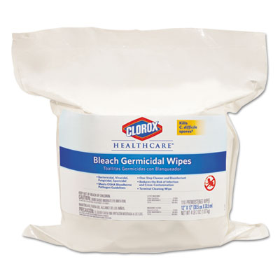 Bleach Germicidal Wipes, 12 x 12, Unscented, 110/Bag