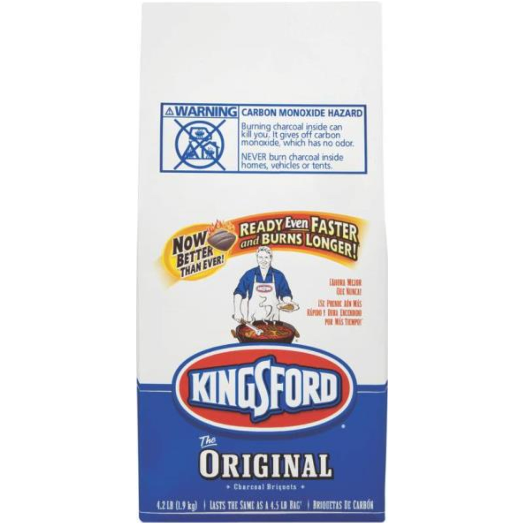 Kingsford 31186 Charcoal Briquette, 4.5 lb Bag, Black, Solid
