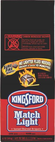 Kingsford 31185 Match Light Briquette, 6.2 lb Bag, Black