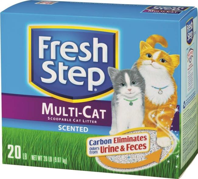 Fresh Step 30438 Multi-Cat Scoopable Cat Litter, 20 lb Box, Dry Solid