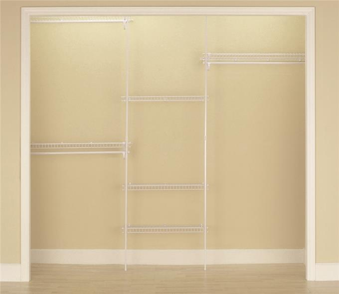 SuperSlide 5636 Closet Organizer Kit, 70 in L x 96 in W x 13 in D, Steel, White