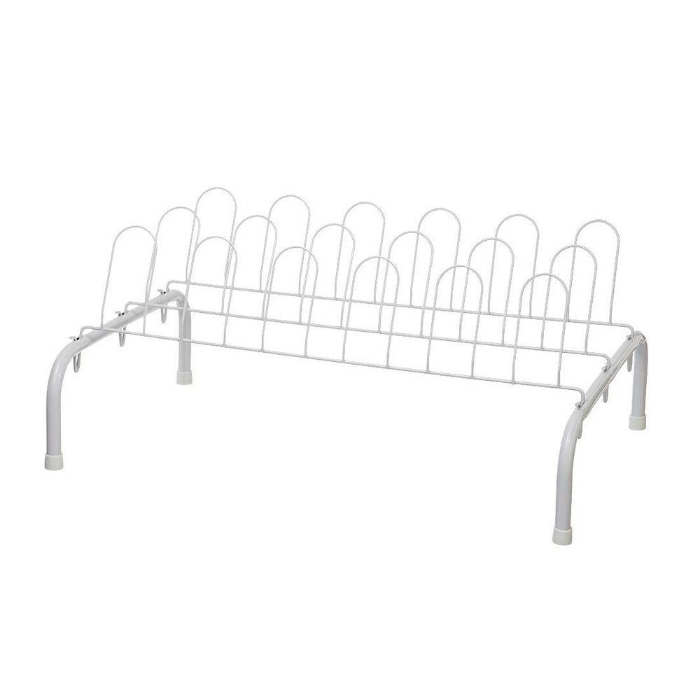 Closetmaid 1039 Shoe Rack, 10 in H x 23 in W x 22 in D, 9 Pair, Steel, White