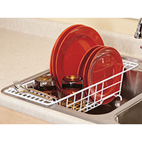 ClosetMaid 3921 Over Sink Drainer, 20-1/4 in L x 8-1/4 in W x 4-5/8 in H, Steel, White, Vinyl Coated