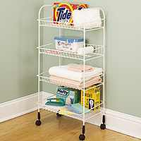 4-Tier Rolling Cart, White