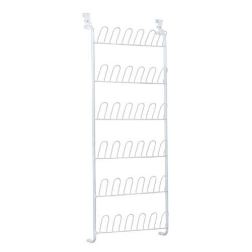 Closetmaid 8040 Shoe Rack, 58 in H x 22-5/8 in W x 5 in D, 18 Pair, Resin, White