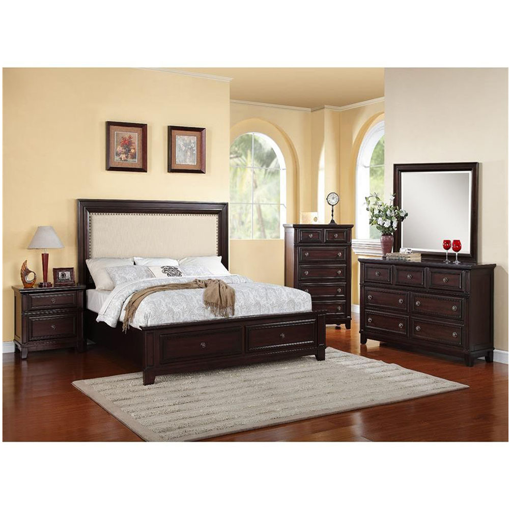 Willow Storage 5PC Bedroom Suite: KBed, Dresser, Mirror, Chest, Night