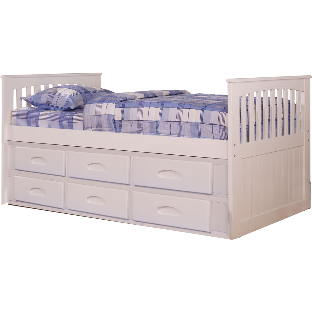 Hillcrest Twin Rake Bed-HB/FB,Rails, Slats, 3-Drawer Storage, Trundle